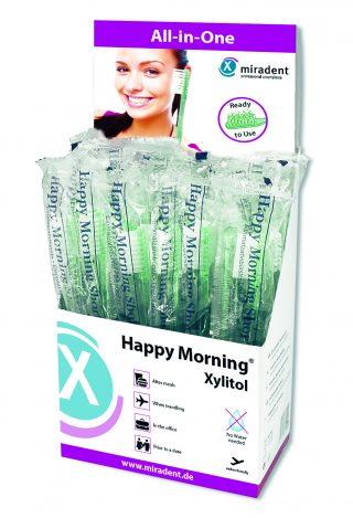 Одноразовая зубная щётка с напылением зубной пасты с ксилитом Happy Morning® Xylitol, miradent®